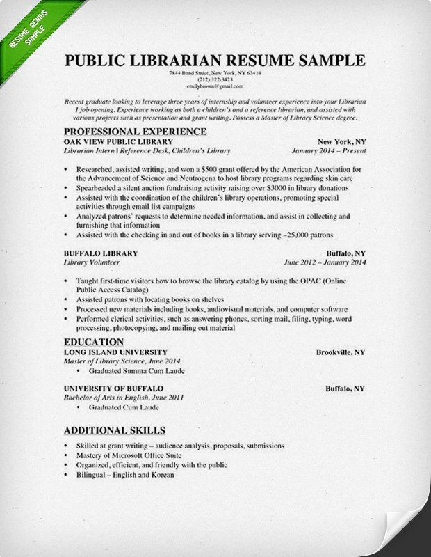 Librarian Resume Sample Writing Guide Good Resume Examples