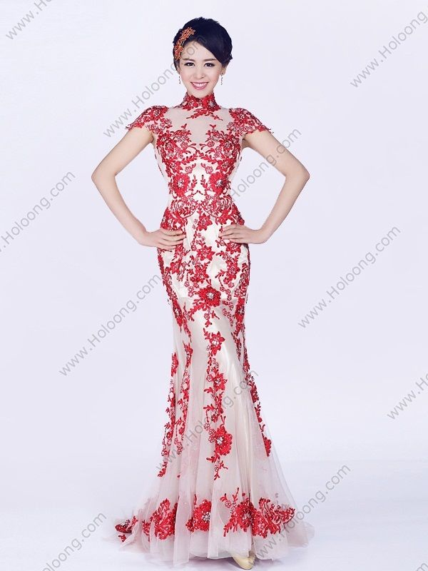 white Charmeuse Cheongsam Mermaid Sweep Crystal Embroidery Sexy ...