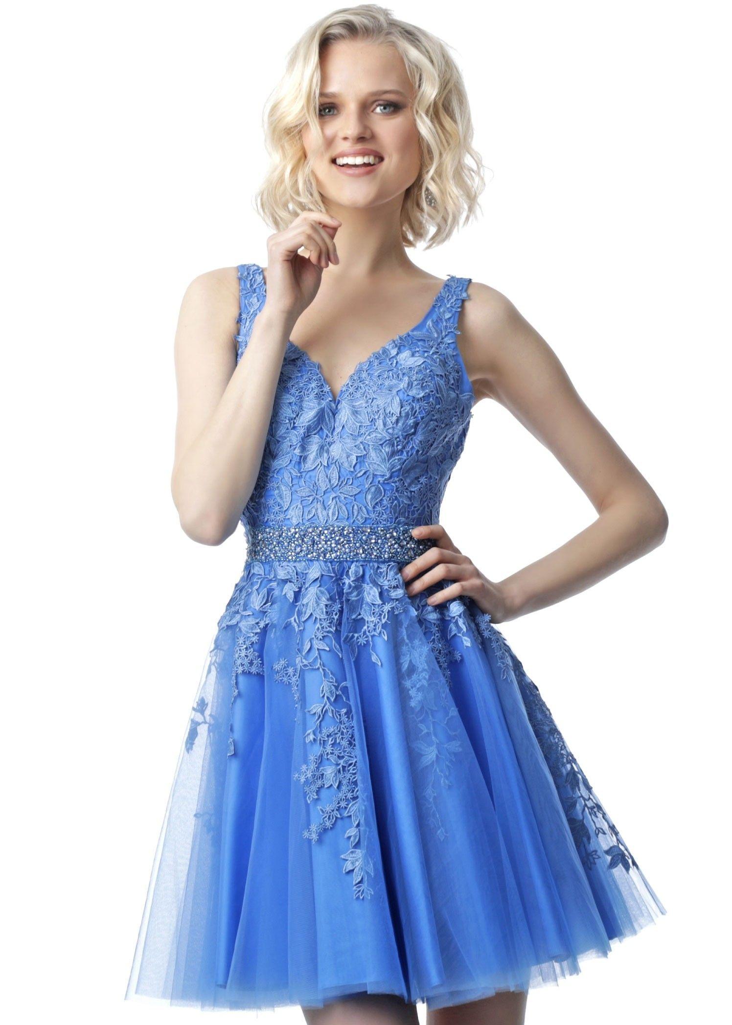 Jvn by jovani jvn68267 short vneck lace party dress a