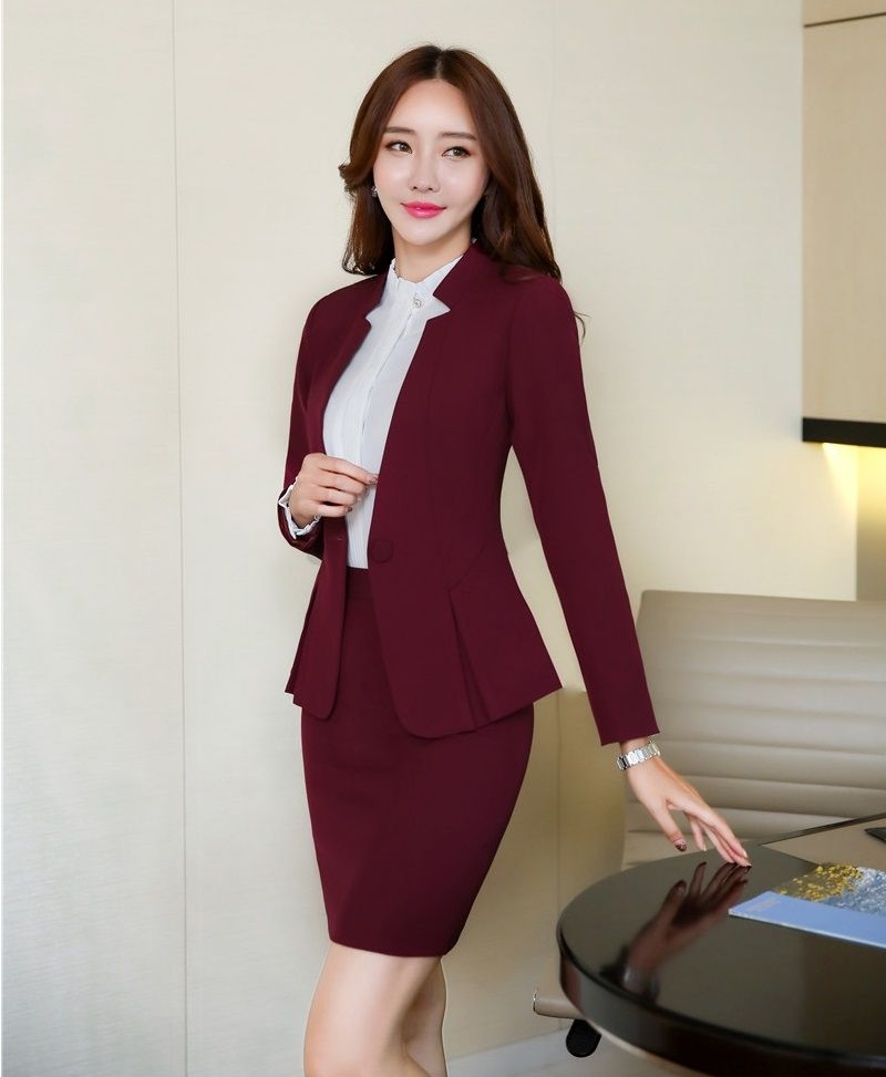 AidenRoy Formal Office Uniform Designs Women Business Suits Skirt and Jacket  Sets Ladies Wine Red Blazer 2bfd3f687