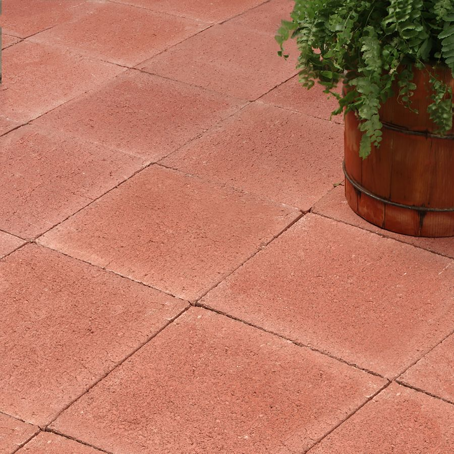 Shop Red Square Concrete Patio Stone (Common: 12-in x 12 ... on Red Paver Patio Ideas id=37769