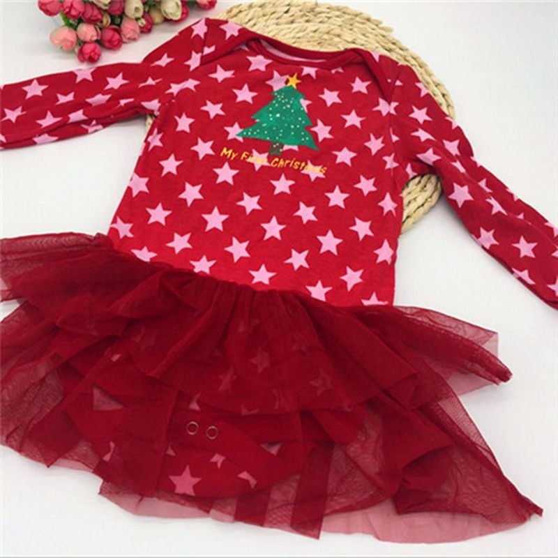 Baby Rompers Christmas Girls Baby Jumpsuits Cotton Newborn Long
