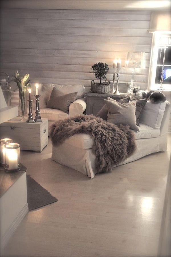 Cozy Romantic Living Room: Lighting:Grey Sleeky Blanket Romantic Cozy Room Candles