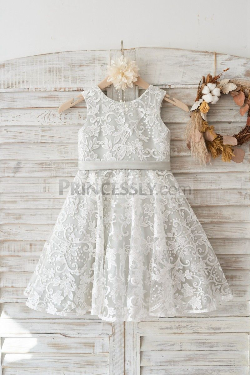 Ivory Lace Deep V Back Wedding Flower Girl Dress With Silver Lining