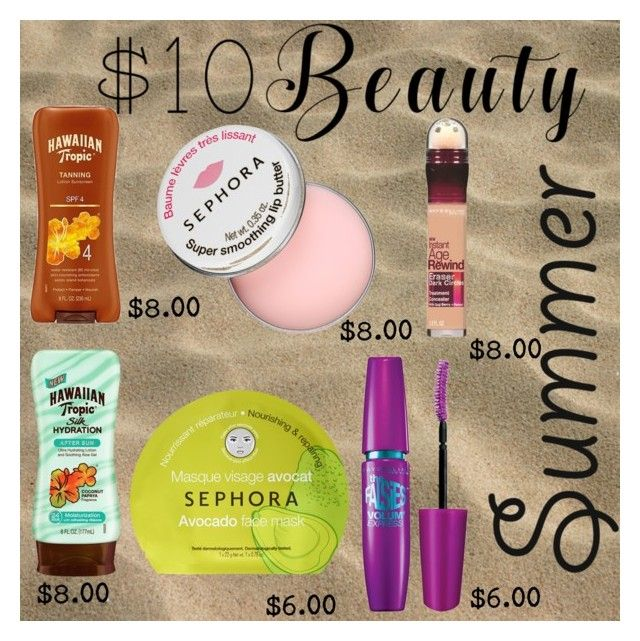 """summer beauty"" by sum1smuse ❤ liked on Polyvore featuring Hawaiian Tropic, Sephora Collection, Maybelline and 10dollarbeauty"