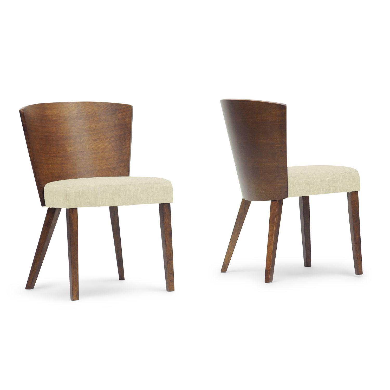 Baxton Studio Sparrow Brown Wood And Khaki Fabric Modern Dining