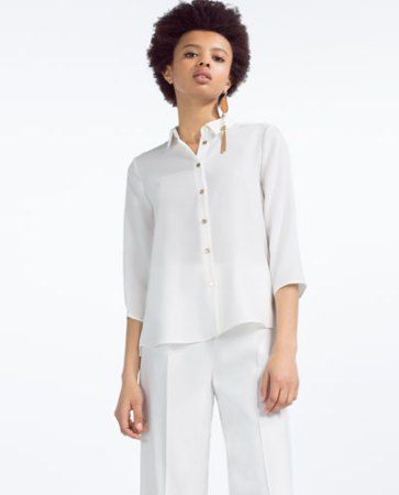 zara shirt with gold buttons #white button down shirt #work outfit ...