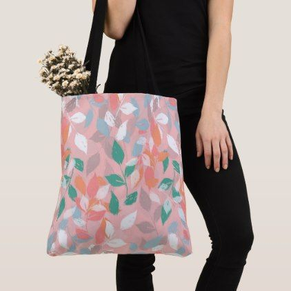 Pretty foliage brush paint design tote bag  bag