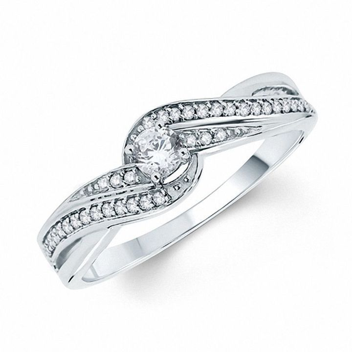 1 4 Ct T W Diamond Swirl Promise Ring In 10k White Gold Diamond Wedding Bands Gold Diamond Wedding Band