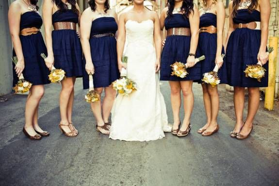 Plain bridesmaid dresses with brown belt to make them more for What colour shoes with navy dress for wedding