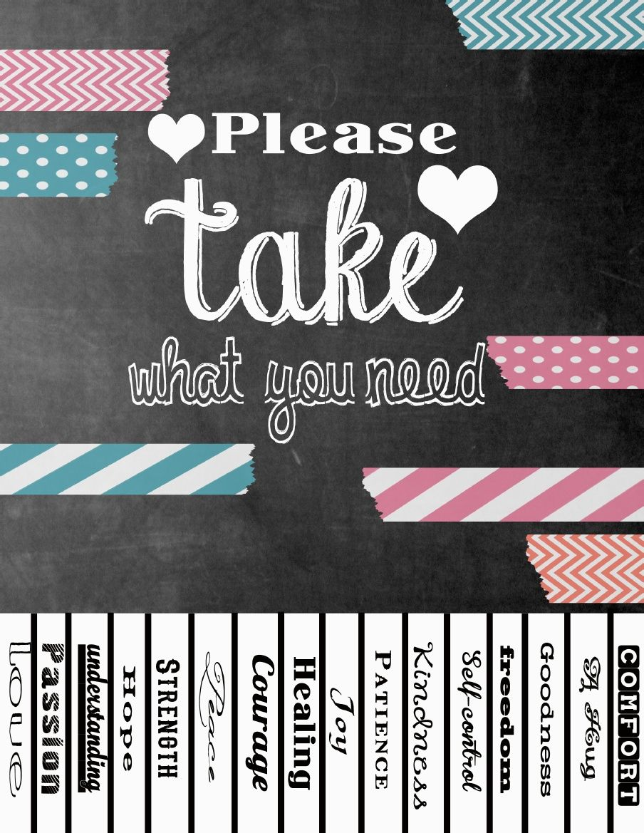 graphic about Take What You Need Printable known as Pin upon Finals 7 days
