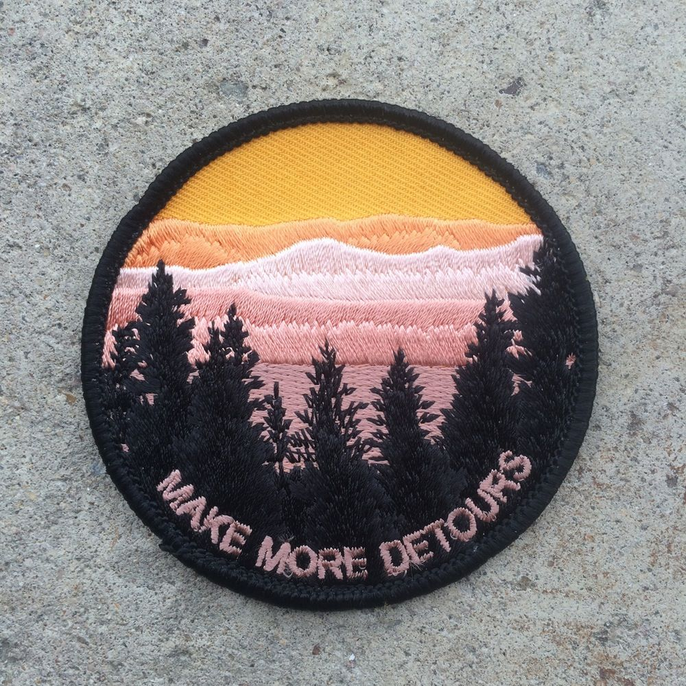 """MAKE MORE DETOURS IRON ON PATCH 3/"""" Outdoor Adventure Nature Embroidered Applique"""