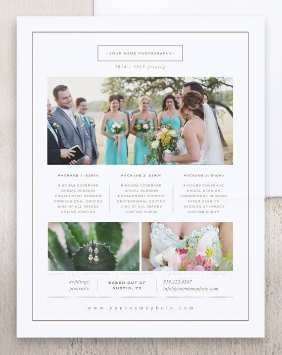 Photographer Price List Template Photography Pricing Sheet Wedding - Price Sheet Template