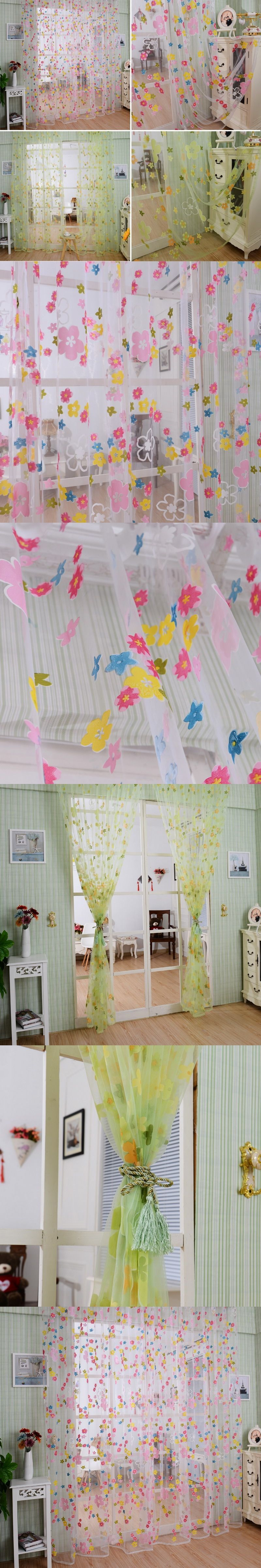New window coverings 2018  pcs new fashion flower floral door window curtain drape panel scarf