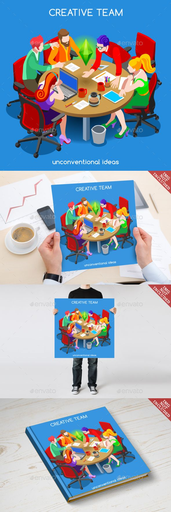 Business 10 People Isometric Vector EPS, AI Illustrator