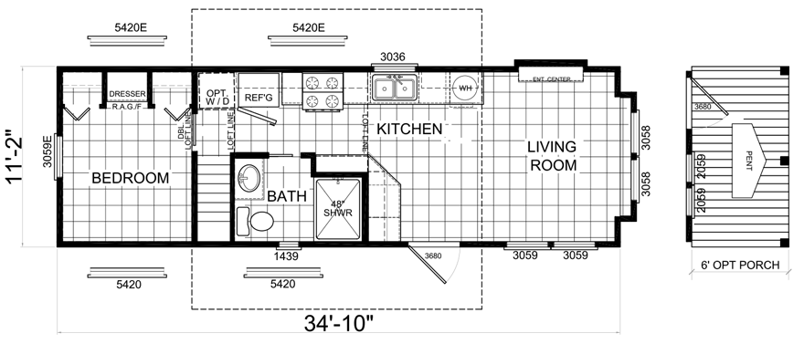 Lewisville 12 X 35 Park Model Rv Floor Plan Factory Expo Park Models Park Model Rv Rv Floor Plans Floor Plans