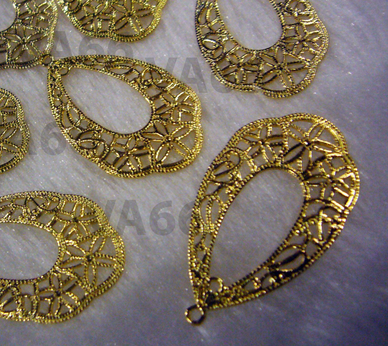 DIY Gold Filigree Lace Chandelier Earrings Parts Hoops Loops 12p ...
