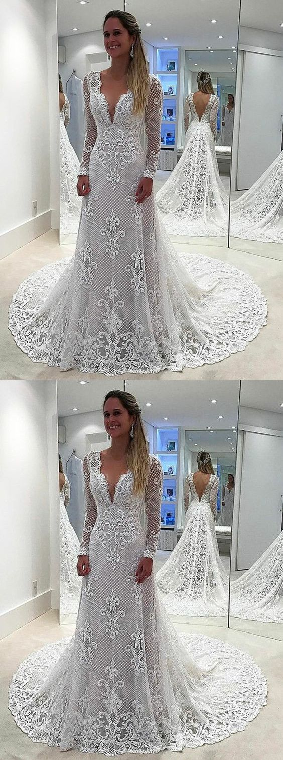 Vintage lace wedding dresses long sleevemermaid bridal gowns
