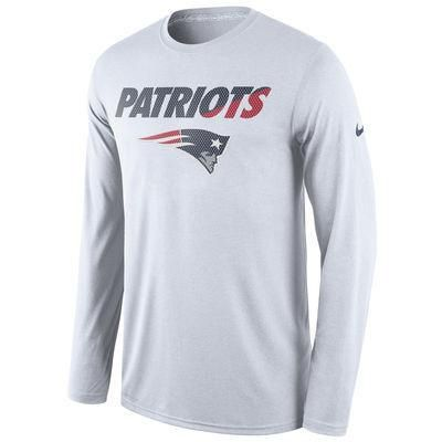 Nfl New England Patriots Nike White Legend Staff Practice Long Sleeve Performance T Shirt With Images New England Patriots Apparel Long Sleeve Tshirt Men Patriots