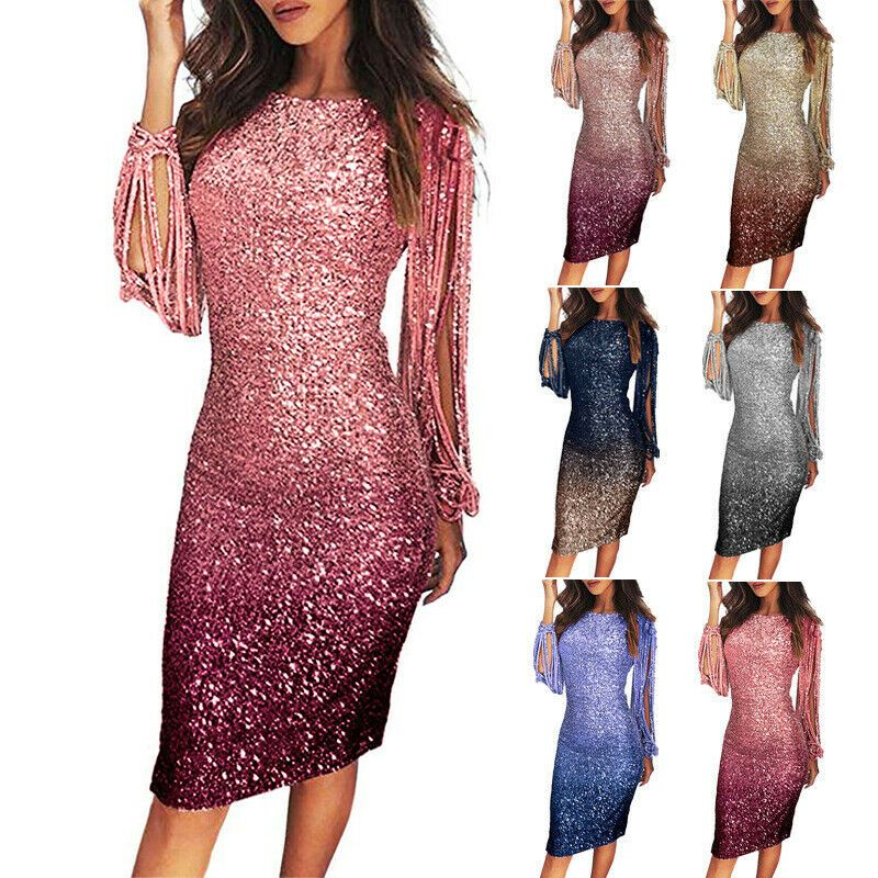 Damen Cocktail Kleid Party Minikleid Abendkleid Dress Pailletten