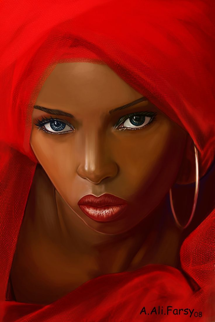 black faced women red lips and scarf paint Farsy | Black ...