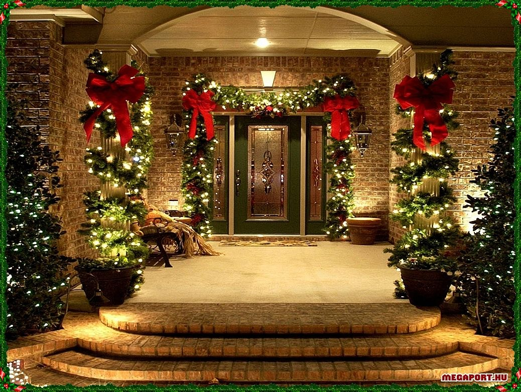 Exterior Doors Ribbons And Garland Wrapped Around Pillars Creating A Bea Outside Christmas Decorations Decorating With Christmas Lights Christmas Porch Decor