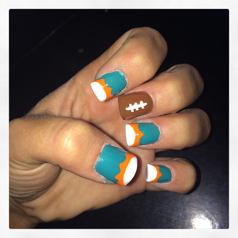 Miami dolphins nails | nail art | Pinterest