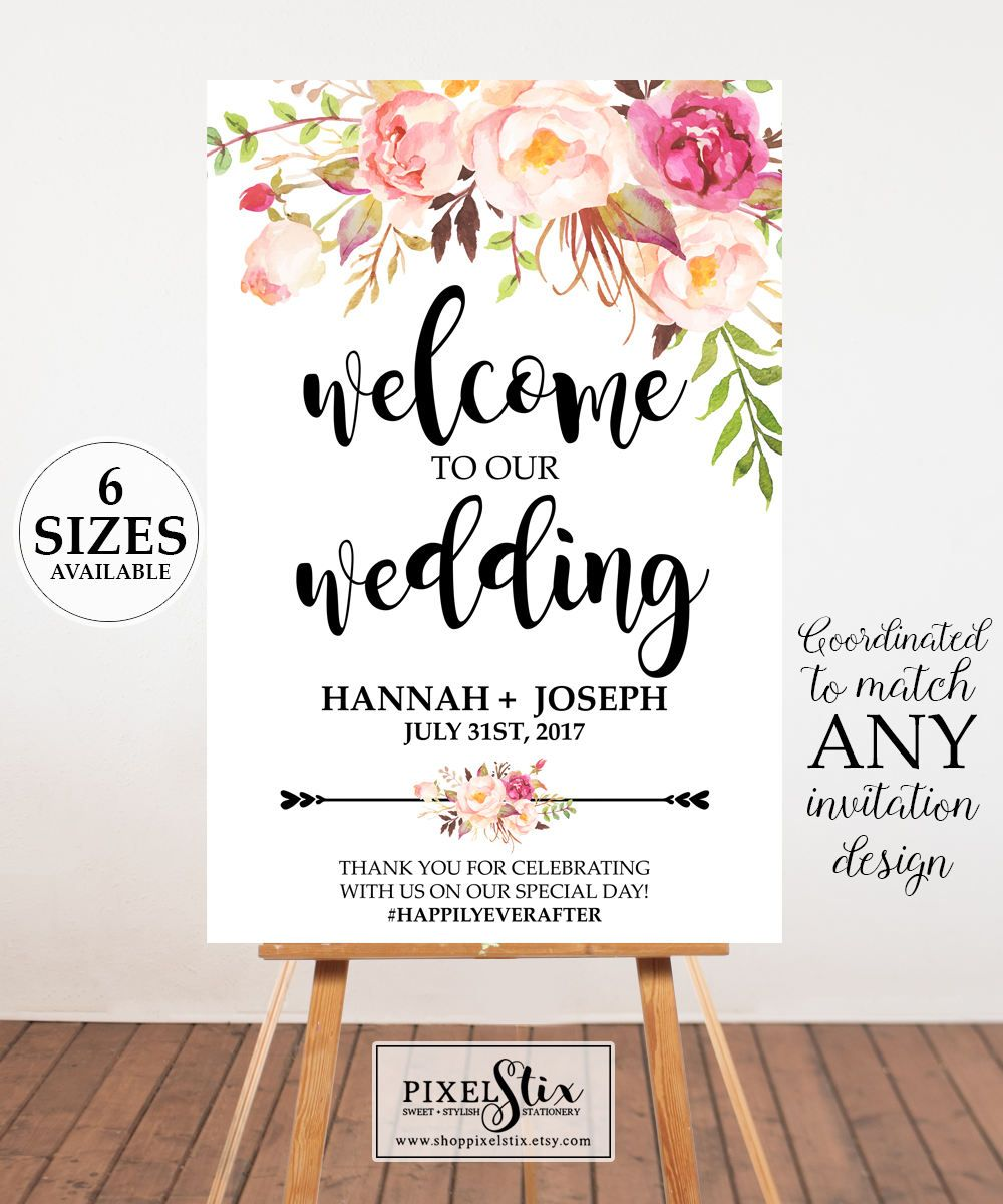 Floral Wedding Welcome Sign H010 Geometric Wedding Welcome Sign Printable Wedding Poster Printed Poster Floral Wedding Welcome Poster