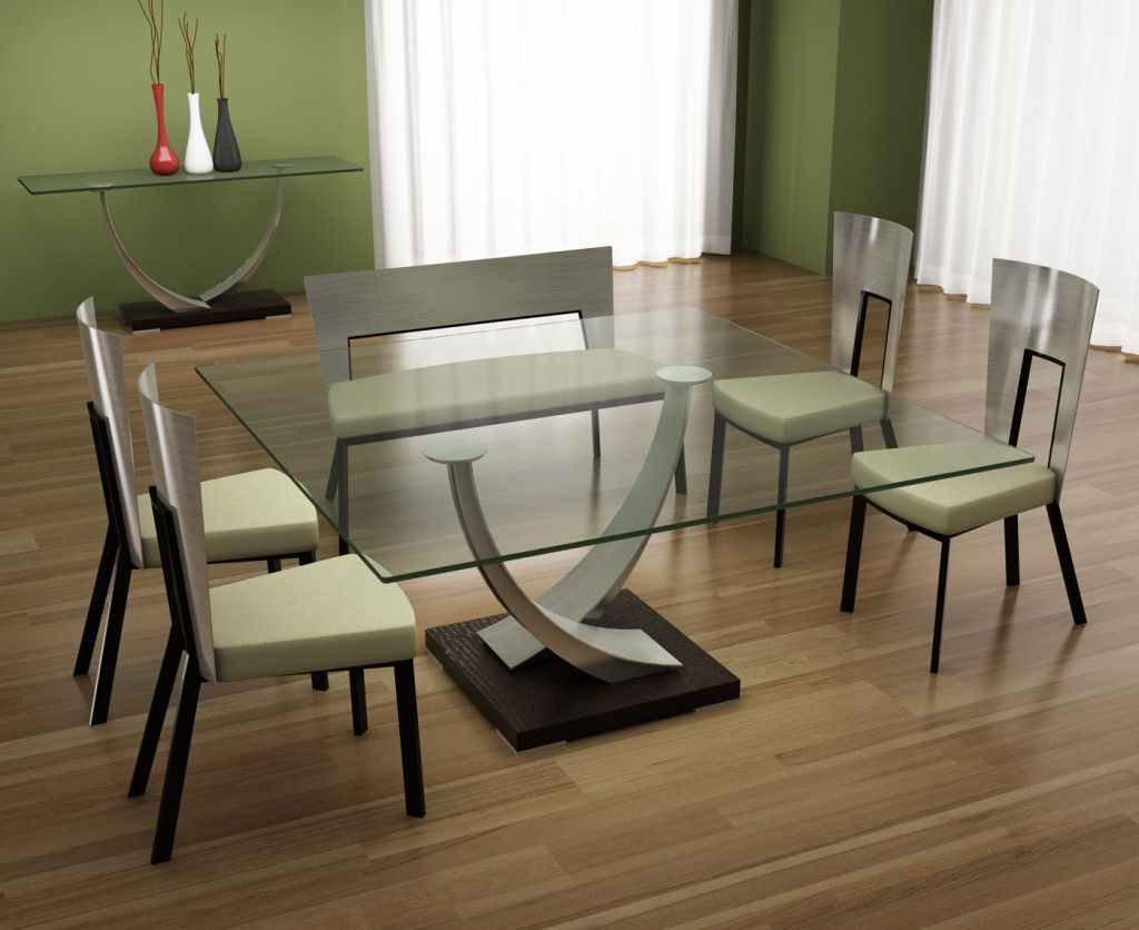 Tangent square glass dining table by Elite Modern ™ | Square Dining ...