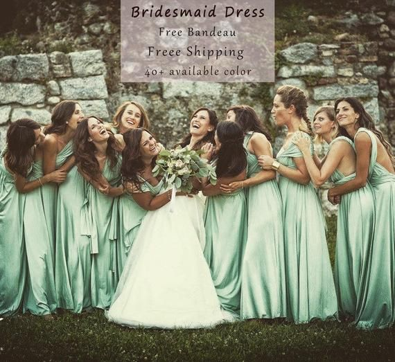 5 Green Wedding Decorations That Will Leave You Speechless: Sage Green ,Bridesmaid Dress , Infinity Dress Convertible