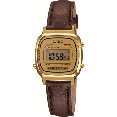 a7cafefbb9af Casio LA670WEGL-9EF Ladies Gold and Black Leather Strap Watch ...