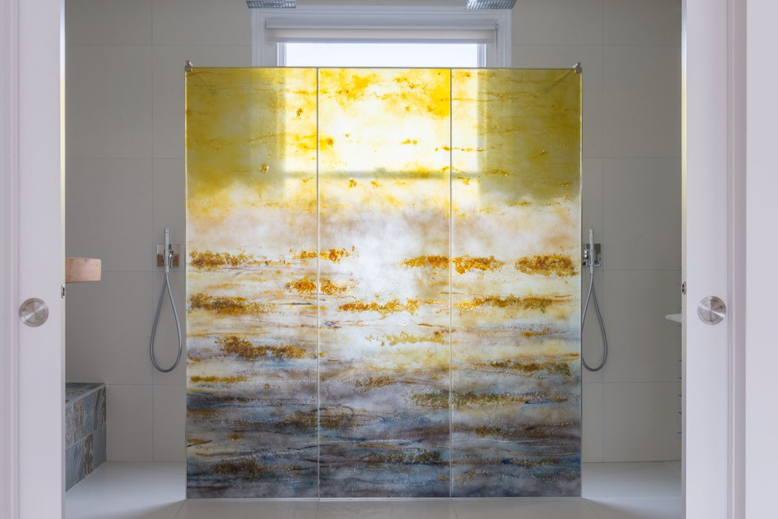 Morpheus glass fused glass laminated shower screen   Glass Art That ...