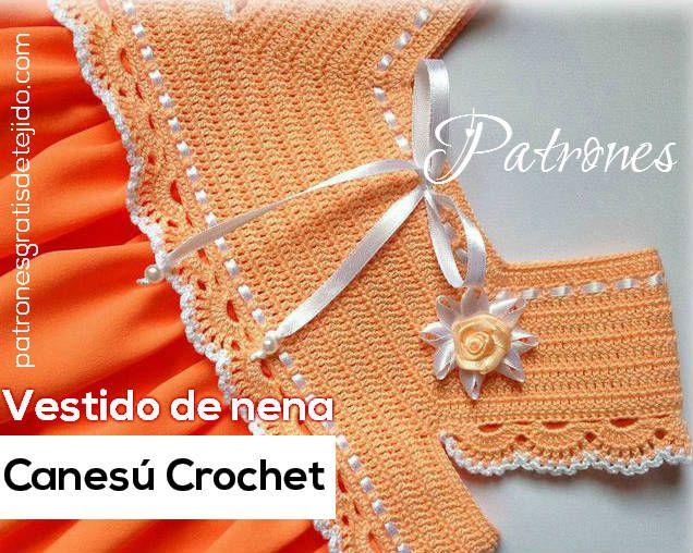 Vestido para Niña con Canesú tejido al Crochet / Moldes y paso a ...