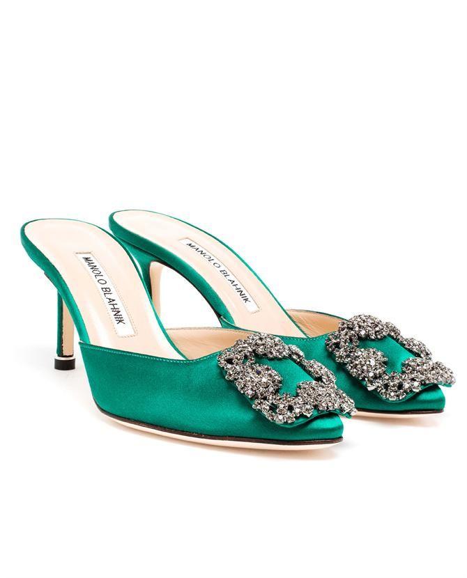 b9799ee1433a ... climatida leaf embroidered sandal green  manolo blahnik hangisi  embellished satin mules. manoloblahnik shoes sandals ...