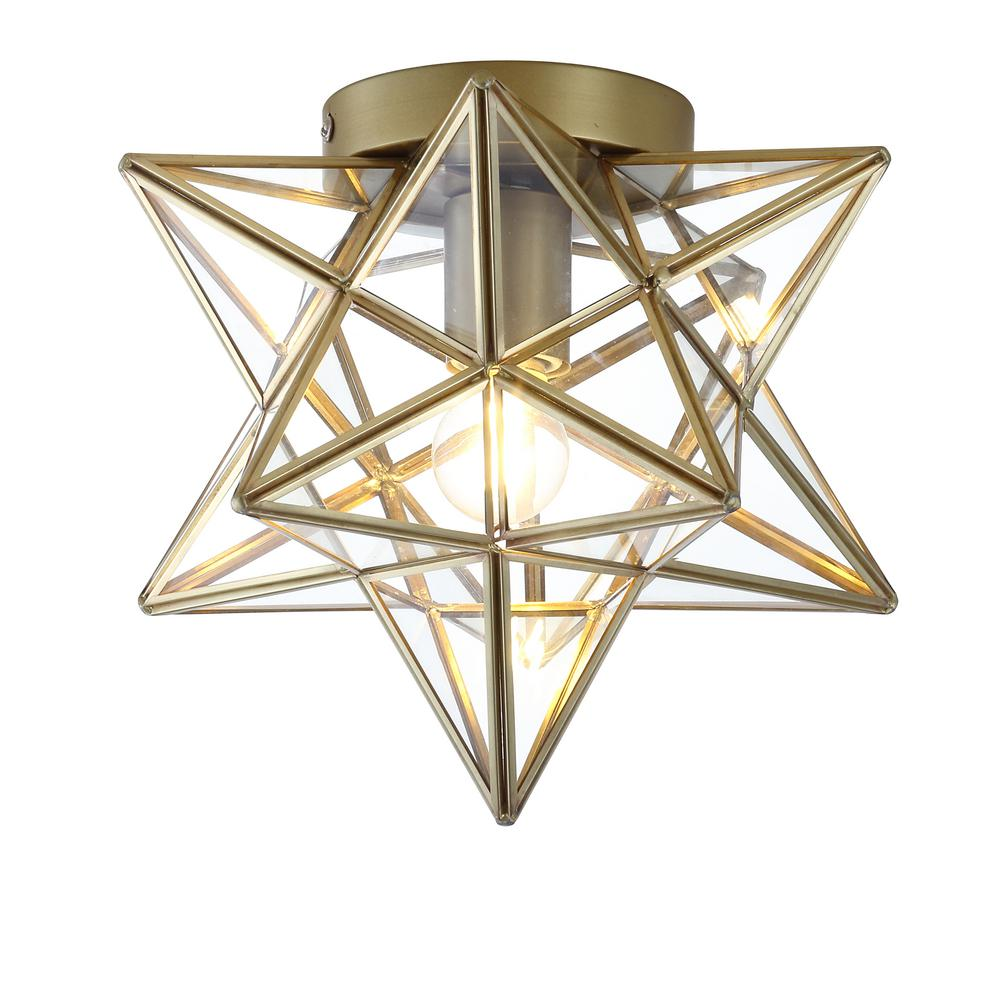 Jonathan Y Stella 9 75 In 1 Light Gold Moravian Star Metal Glass Led Pendant In 2021 Energy Efficient Light Bulbs Led Flush Mount Jonathan Y Moravian star flush mount