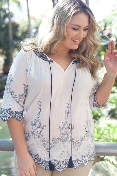 3e8864d4505 Embroidered Peasant Blouse || Eliza Top in White/Blue (Plus Size ...