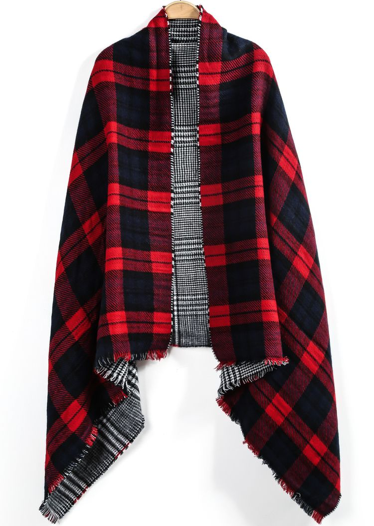 Red Plaid Fringe Both Sides Scarve | Fall Wardrobe | Pinterest ...