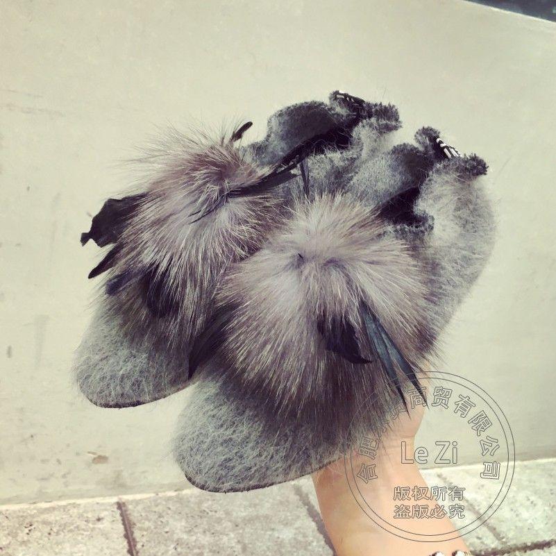 Soft Leather Ball Artwork Shoes Fox Fur Pu Embellished Apricot Ballerina Slip On Women Solid Superstar