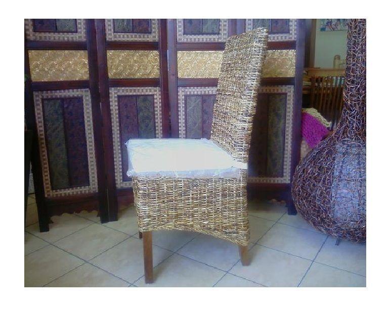 Sedia pranzo foglia banano con cuscino struttura in legno massello ...