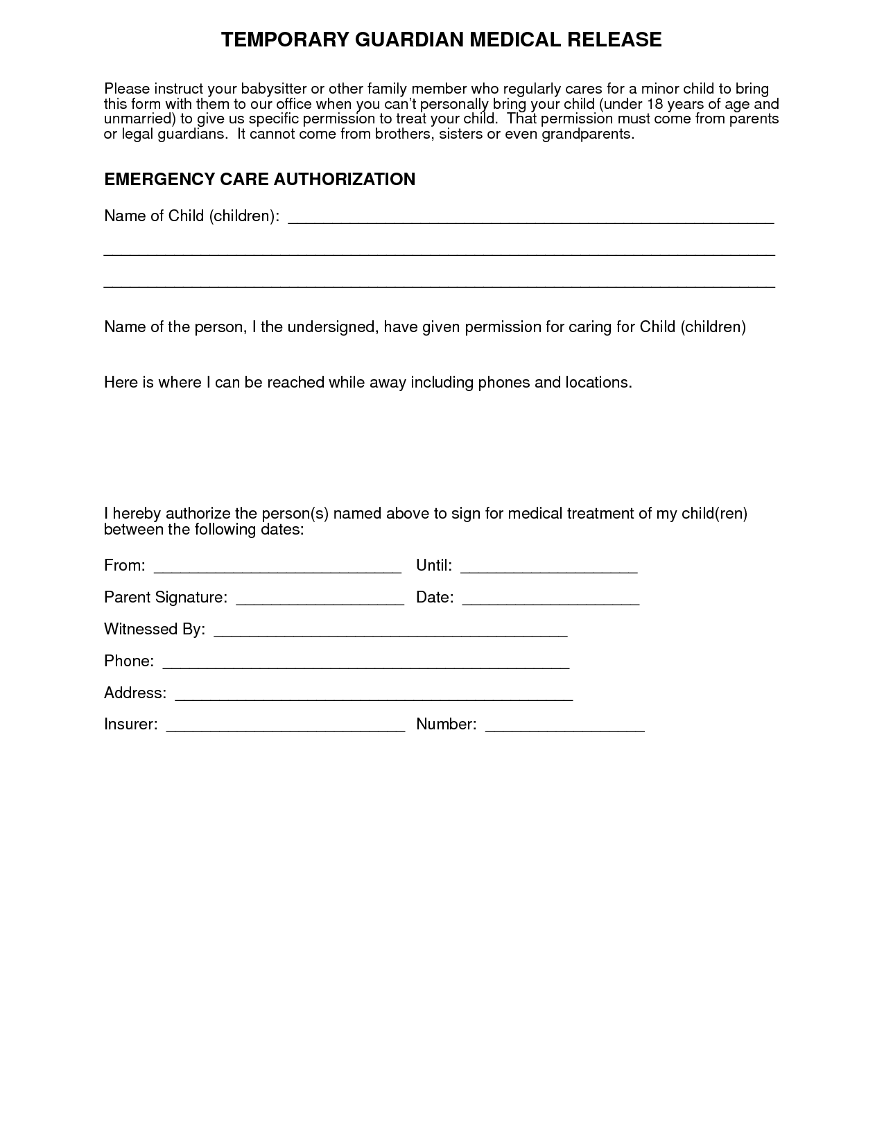 Medical Release Form For Minor Temporary Guardianship Form. Sample Power Of  Attorney For Child .  Free Child Travel Consent Form Template