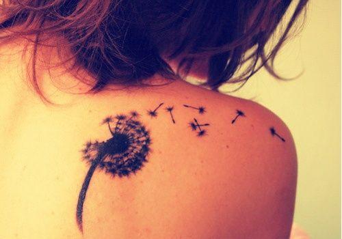 dandelion back shoulder tattoo