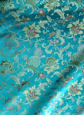 Turquoise Chinese Brocad Satin Floral wide per yard 45""
