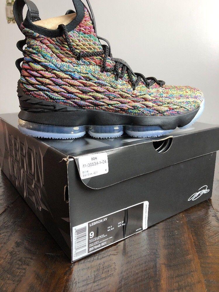 42735a37e56 Mens Nike LeBron 15 XV Cereal Fruity Pebbles Black Multi Color 897648-901   Nike  AthleticSneakers