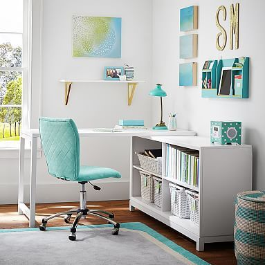 Rowan Classic Corner Desk, Lacquer Simply White | Teen Girl Rooms ...