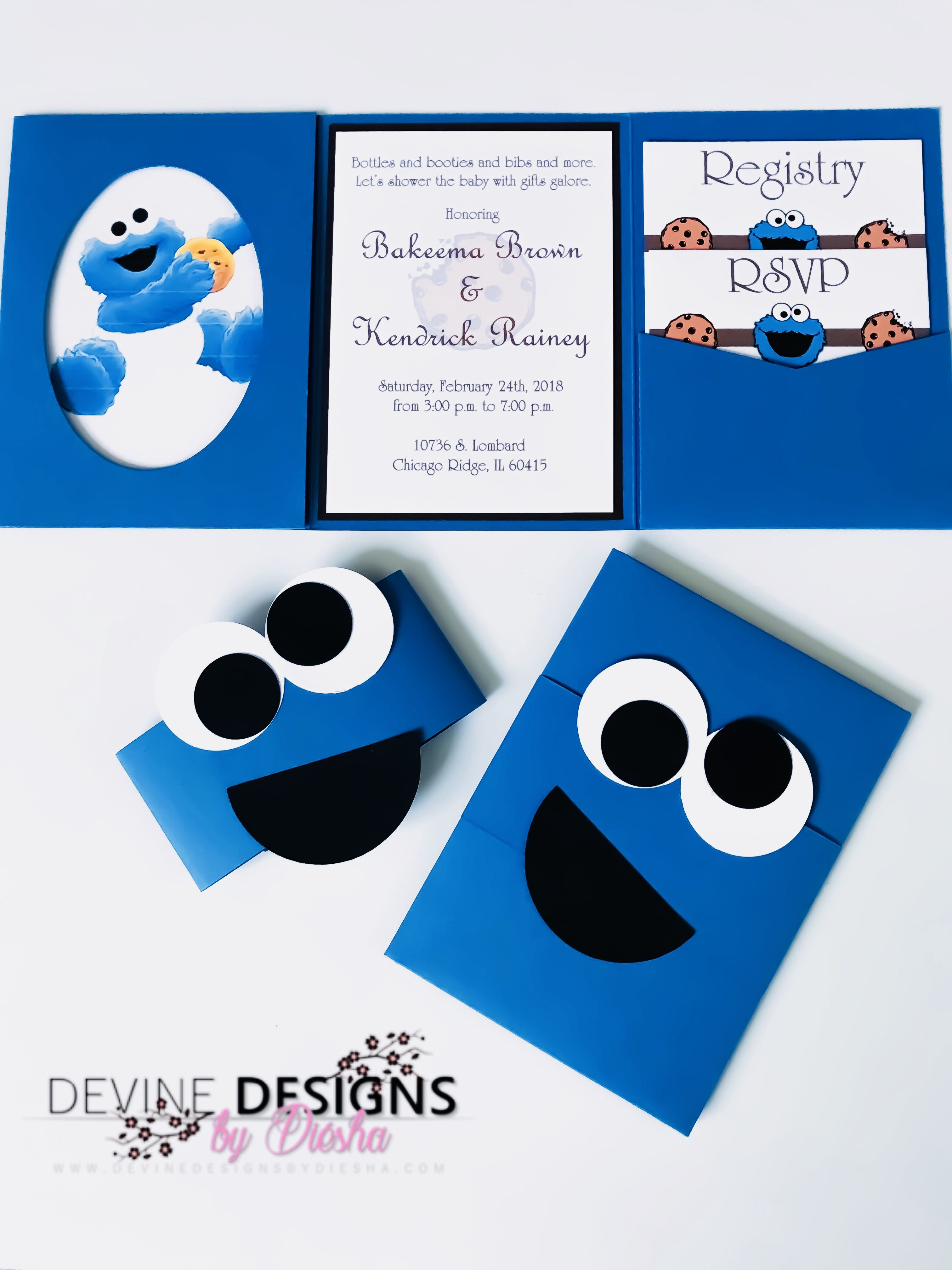 Cookie Monster baby shower invitations - Sesame Street inspired ...