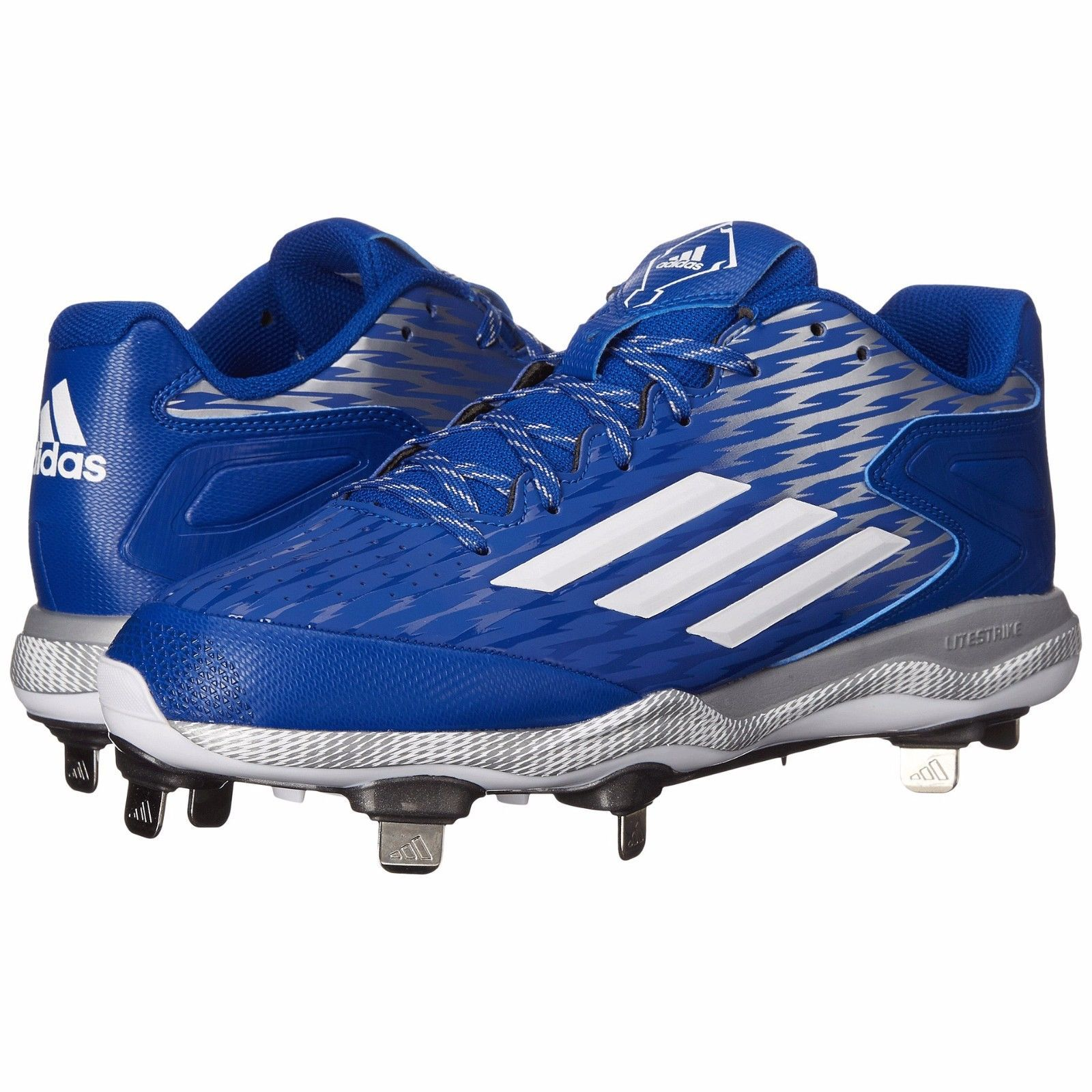 New Adidas Power Alley 3 Metal Mens Baseball Cleats : Royal Blue