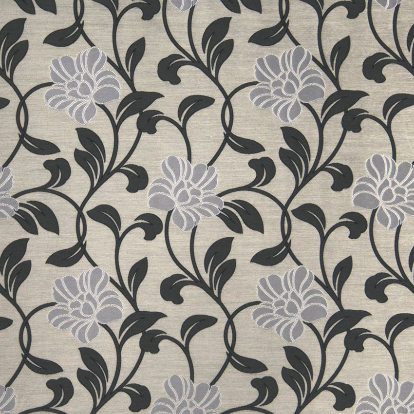 Silver Black Grey Floral Faux Silk Drapery And Upholstery Fabric Fabric Decor Floral Drapery Fabric Printing On Fabric