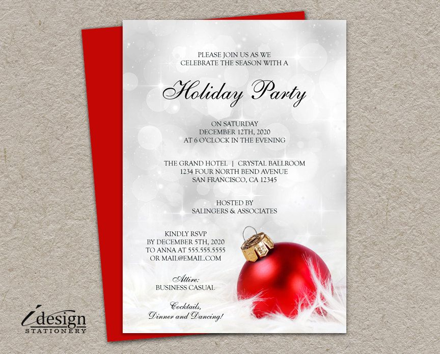 Personalized Christmas Invitation With A Red Ornament Against A