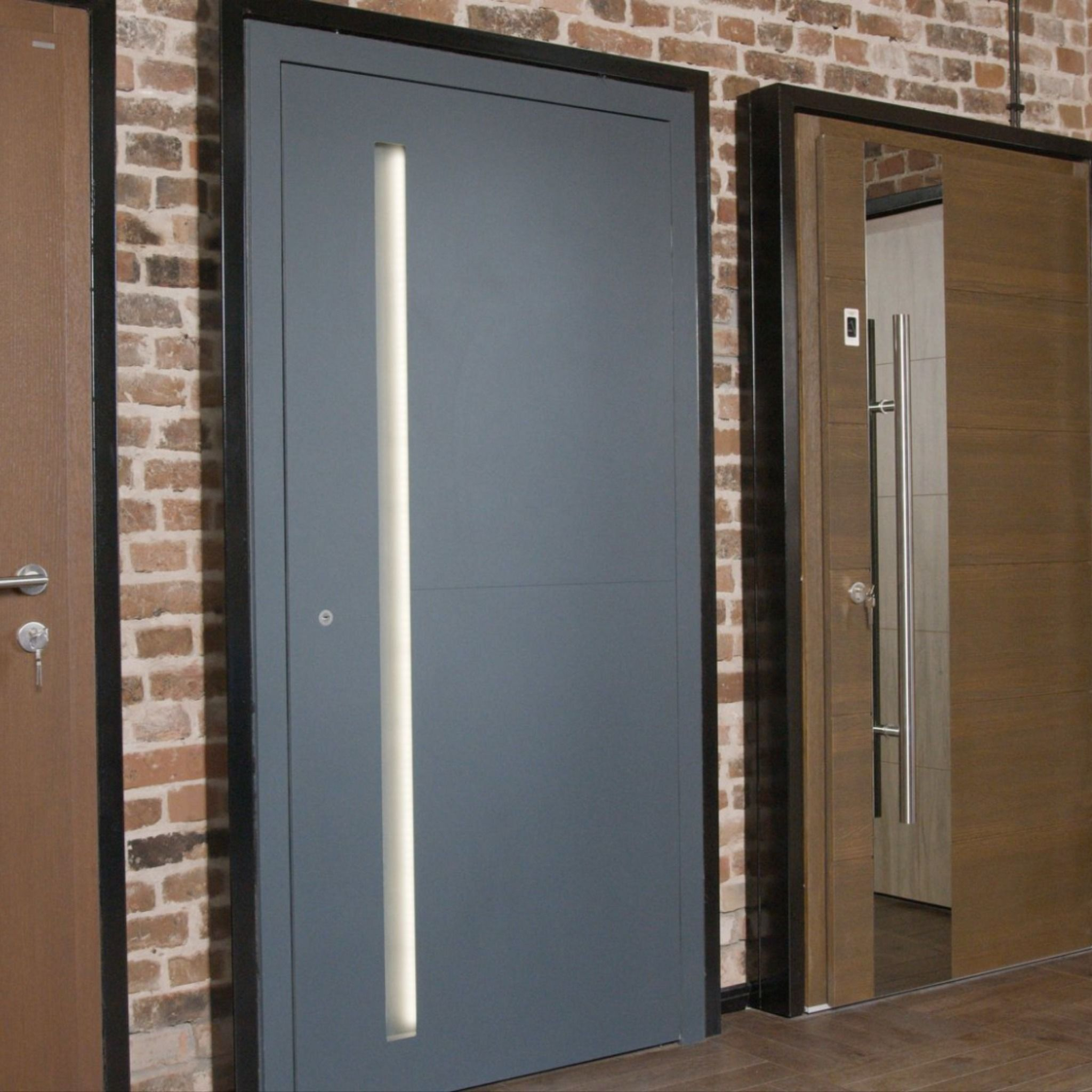 Wooden doors with an aluminum cover