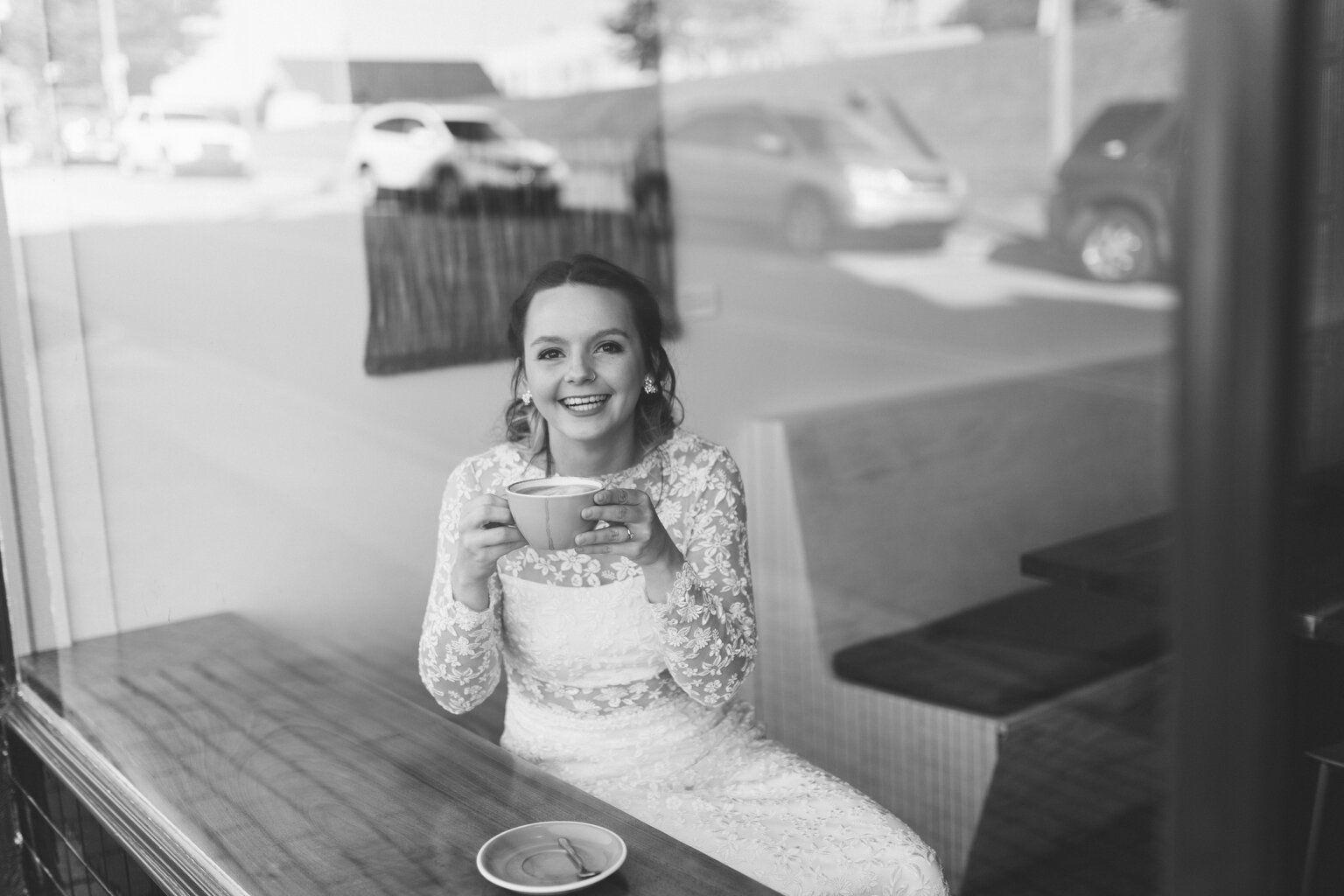 Bridal Portraits Boho Bride At Coffee Shop Waynesville Nc Wedding Photographer In 2020 Boho Bride Two Piece Wedding Dress Bride